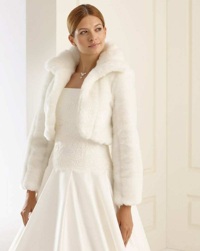 Bella Faux Fur Bridal Bolero, Fur Wedding Jacket